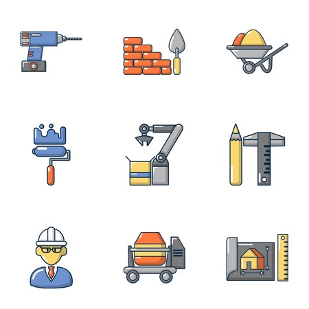 Construction shop icons set, cartoon style