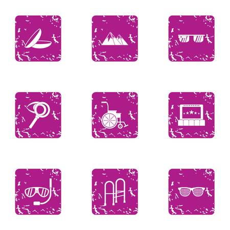 Rehabilitation icons set. Grunge set of 9 rehabilitation vector icons for web isolated on white background