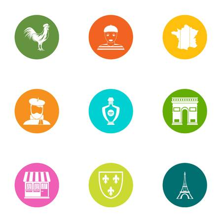 Paris city icons set. Flat set of 9 paris city vector icons for web isolated on white background Vettoriali