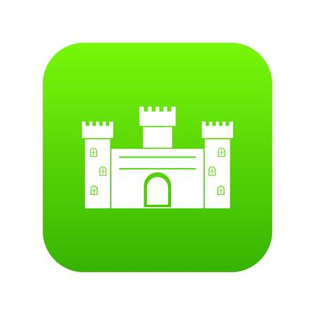 Medieval fortification icon digital green