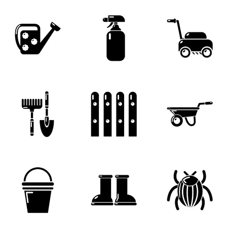 Cottage in the country icons set. Simple set of 9 cottage in the country vector icons for web isolated on white background Vettoriali