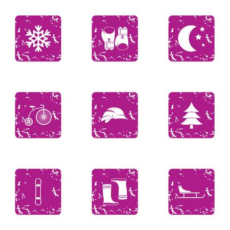 Racing sled icons set. Grunge set of 9 racing sled vector icons for web isolated on white background