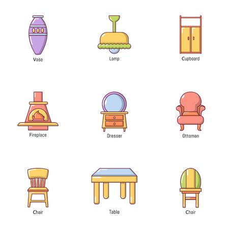 Outside the town icons set. Cartoon set of 9 outside the town vector icons for web isolated on white background  イラスト・ベクター素材