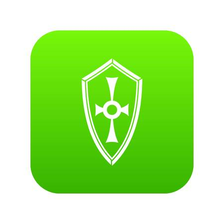 Shield icon digital green for any design isolated on white vector illustration