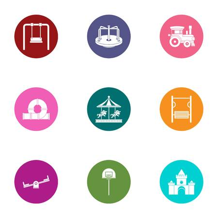 Teen playground icons set. Flat set of 9 teen playground vector icons for web isolated on white background Ilustração