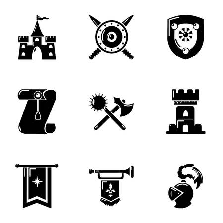 Joust icons set, simple style