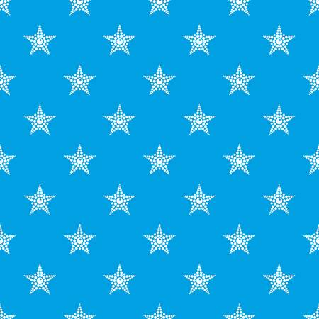 Spotted star pattern vector seamless blue repeat for any use