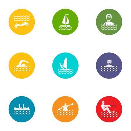 Jeu d'icônes de sport de natation. Ensemble plat de 9 icônes vectorielles de sport de natation pour le web isolé sur fond blanc