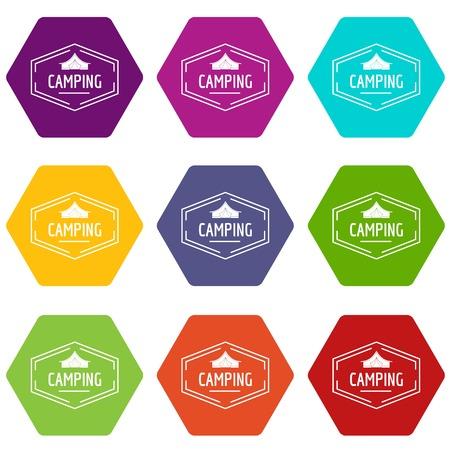 Camping shield icons set 9 vector