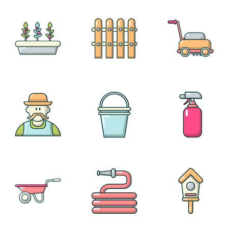 Construction of the home icons set. Cartoon set of 9 construction of the home vector icons for web isolated on white background