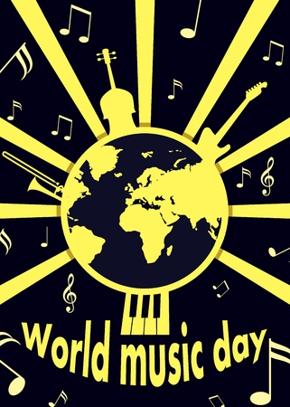 World music day concept background, flat style