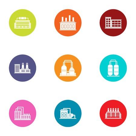Manufacturing plant icons set, flat style Illustration
