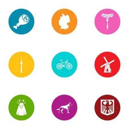 Male employment icons set. Flat set of 9 male employment vector icons for web isolated on white background