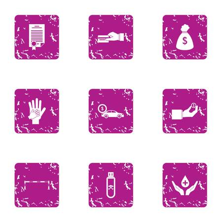 Memorandum icons set. Grunge set of 9 memorandum vector icons for web isolated on white background