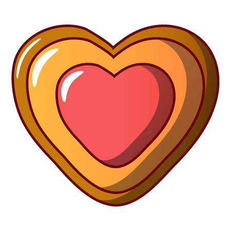 Heart biscuit icon, cartoon style 스톡 콘텐츠