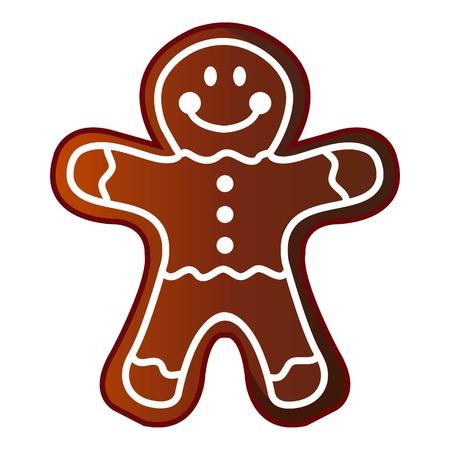 Man gingerbread icon, cartoon style