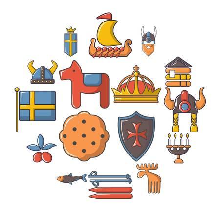Sweden travel icons set, cartoon style