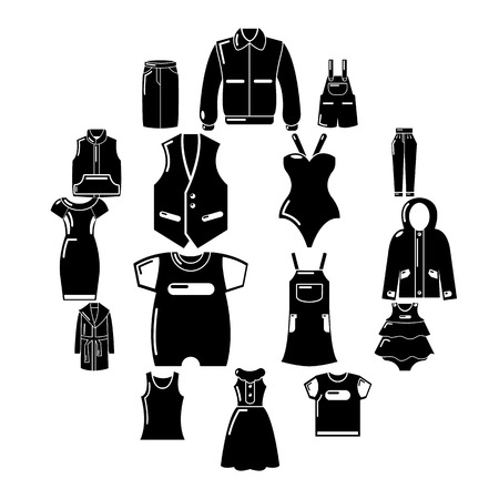 Fashion clothes wear icons set, simple style