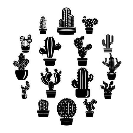 Cactus icons set, simple style