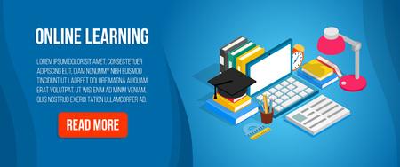 Banner de concepto de aprendizaje en línea. Banner isométrico del concepto de vector de aprendizaje en línea para web, tarjeta de regalo y postal Ilustración de vector