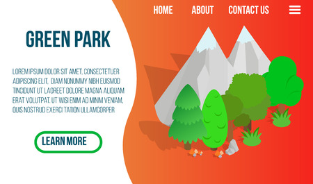 Green park concept banner. Isometric banner of green park vector concept for web, giftcard and postcard