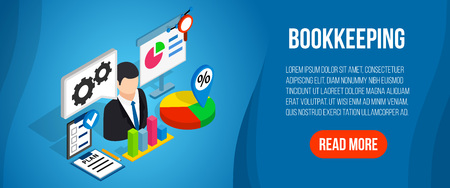 Bookkeeping concept banner. Isometric banner of bookkeeping vector concept for web, giftcard and postcard