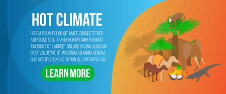 Hot climate concept banner. Isometric banner of hot climate vector concept for web, giftcard and postcard