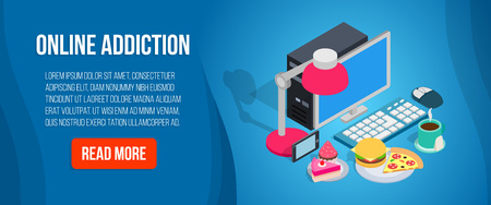 Online addiction banner. Isometric banner of online addiction vector concept for web, giftcard and postcard