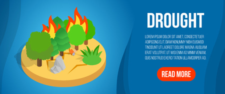 Drought concept banner. Isometric banner of drought vector concept for web, giftcard and postcard