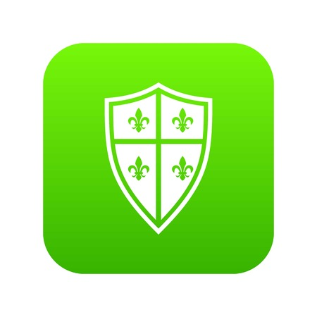 Royal shield icon digital green for any design isolated on white vector illustration Vettoriali
