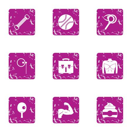 Musculature icons set. Grunge set of 9 musculature vector icons for web isolated on white background Illustration