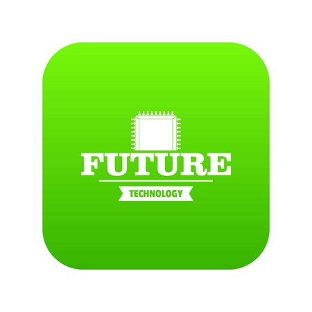 Future cpu icon green vector isolated on white background Vektorové ilustrace