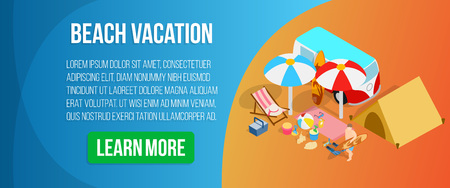 Beach vacation concept banner. Isometric banner of beach vacation vector concept for web, giftcard and postcard