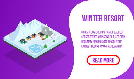 Winter resort banner. Isometric banner of winter resort vector concept for web, giftcard and postcard