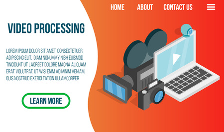 Video processing concept banner. Isometric banner of video processing vector concept for web, giftcard and postcard