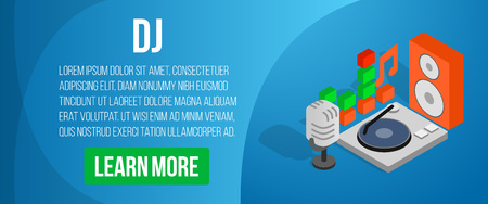 DJ concept banner. Isometric banner of dj vector concept for web, giftcard and postcard