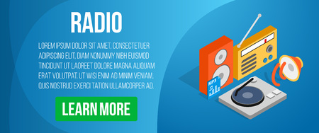 Radio concept banner. Isometric banner of radio vector concept for web, giftcard and postcard Illustration