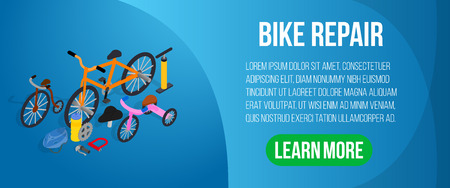 Bike repair concept banner. Isometric banner of bike repair vector concept for web, giftcard and postcard