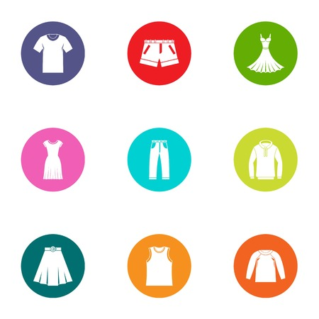 Leather apparel icons set. Flat set of 9 leather apparel vector icons for web isolated on white background