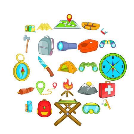 Conjunto de iconos de desierto. Conjunto de dibujos animados de 25 iconos de vector de desierto para web aislado sobre fondo blanco