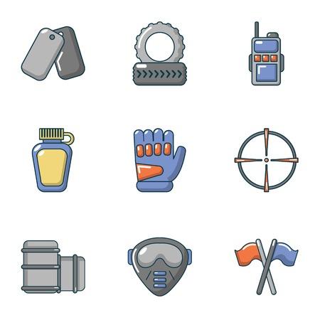 Military training icons set. Cartoon set of 9 military training vector icons for web isolated on white background