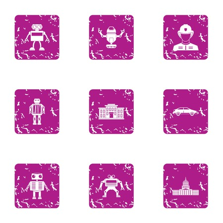 Droid icons set. Grunge set of 9 droid vector icons for web isolated on white background