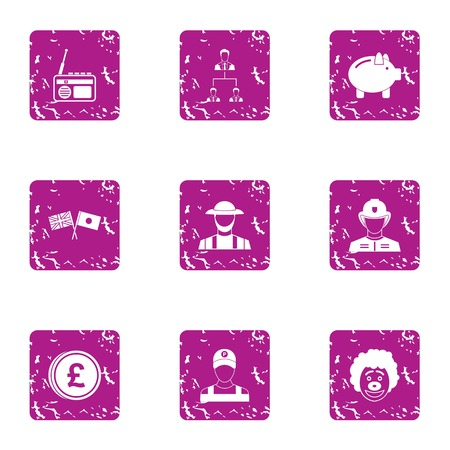 Jollification icons set. Grunge set of 9 jollification vector icons for web isolated on white background