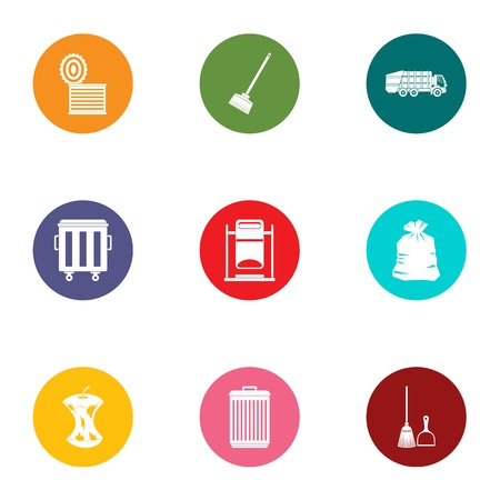 Throw out trash icons set. Flat set of 9 throw out trash vector icons for web isolated on white background