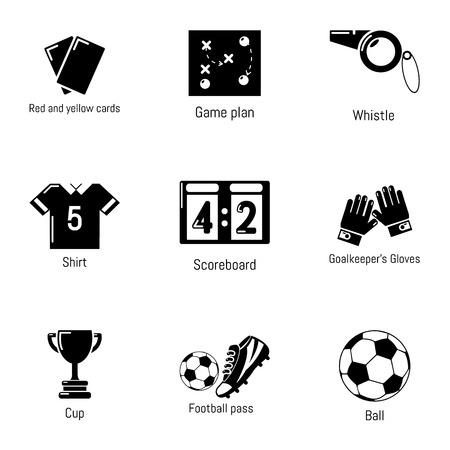 Soccer ball icons set. Simple set of 9 soccer ball vector icons for web isolated on white background