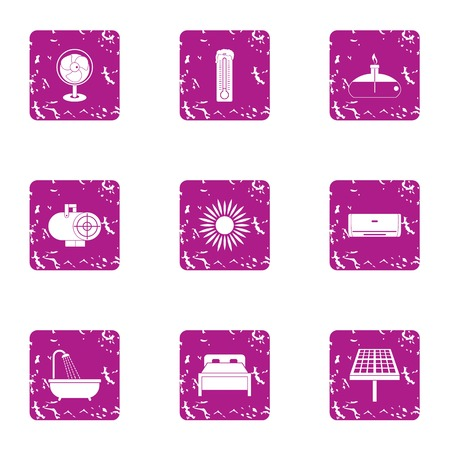 Cheap motel icons set. Grunge set of 9 cheap motel vector icons for web isolated on white background