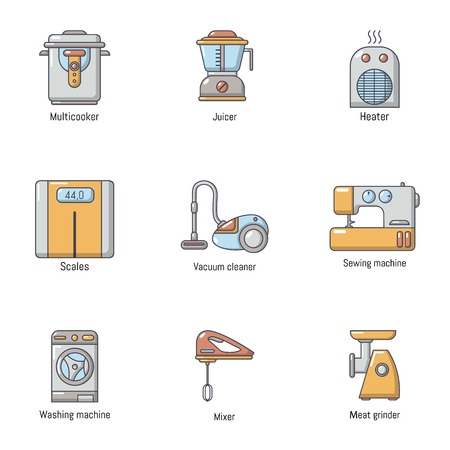 Domestic life icons set. Cartoon set of 9 domestic life vector icons for web isolated on white background
