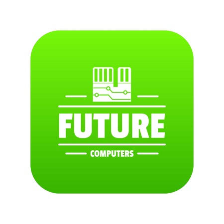 Future computers icon green vector isolated on white background