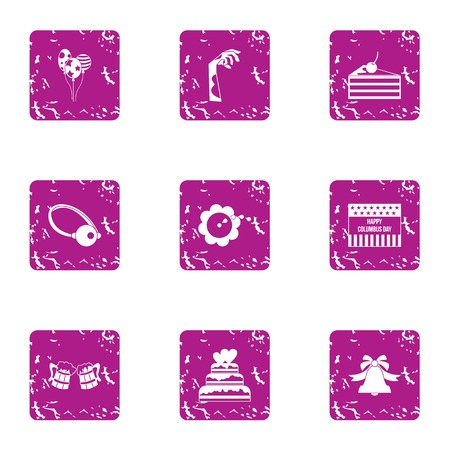 Corpse party icons set. Grunge set of 9 corpse party vector icons for web isolated on white background Vectores