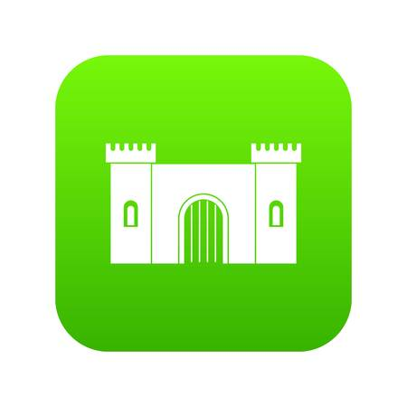 Fortress with gate icon digital green for any design isolated on white vector illustration